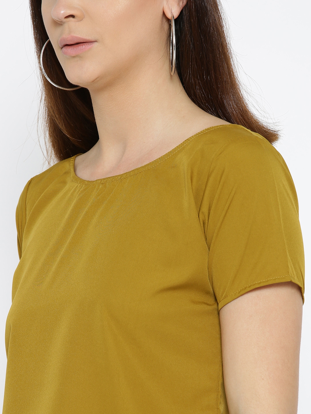 265e79fd358566 Buy U&F Women Mustard Brown Solid Styled Back Crop Top - Tops for ...