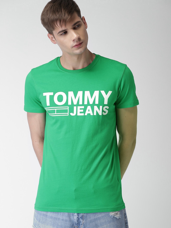 926accb989c7 Buy Tommy Hilfiger Men Green Printed Slim Fit Round Neck T Shirt ...