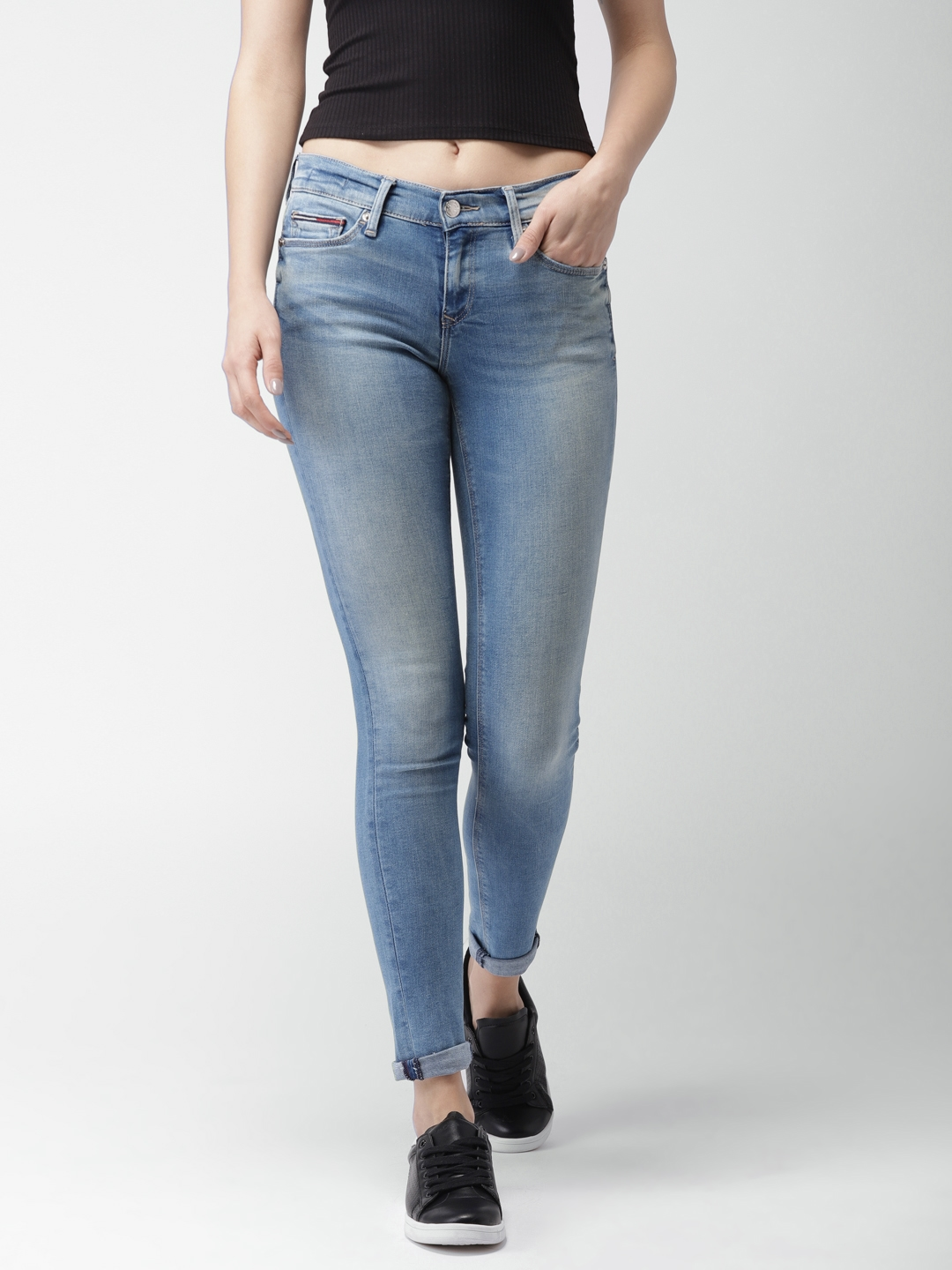7a727733 Tommy Hilfiger Women Blue Skinny Fit Mid-Rise Clean Look Stretchable Jeans