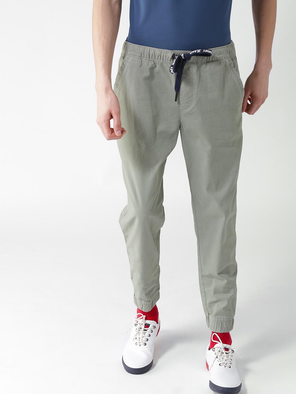 fbd228ce1 Buy Tommy Hilfiger Men Olive Green Joggers - Track Pants for Men ...