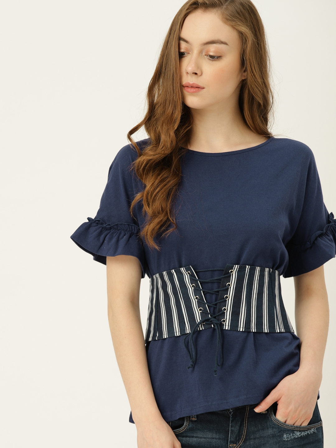 54a966a5f5b3b5 United Colors of Benetton Women Navy Solid Top with Striped Corset Belt