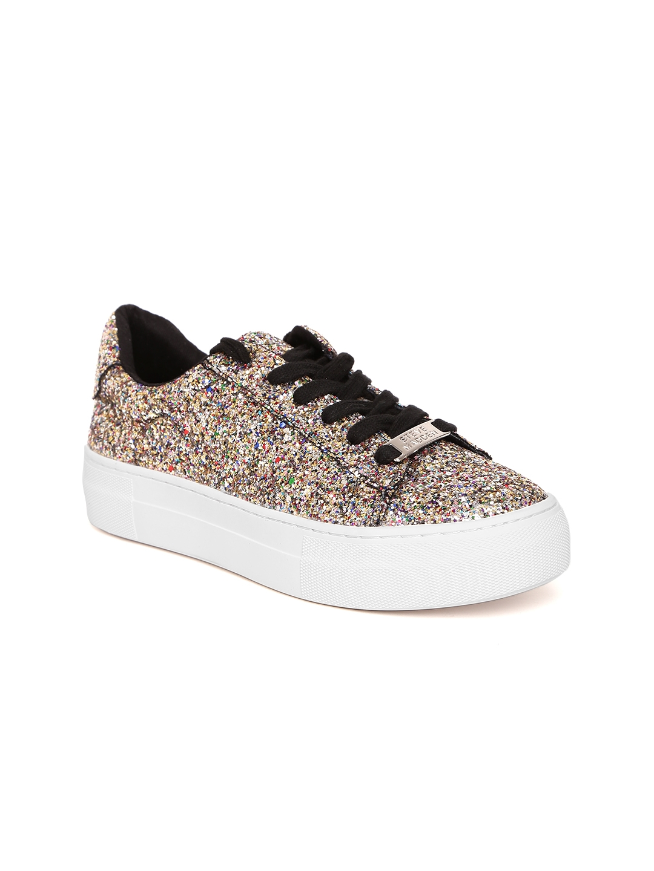 ff3efabdb88 Buy Steve Madden Women Silver Toned Shimmer Flatform Sneakers ...