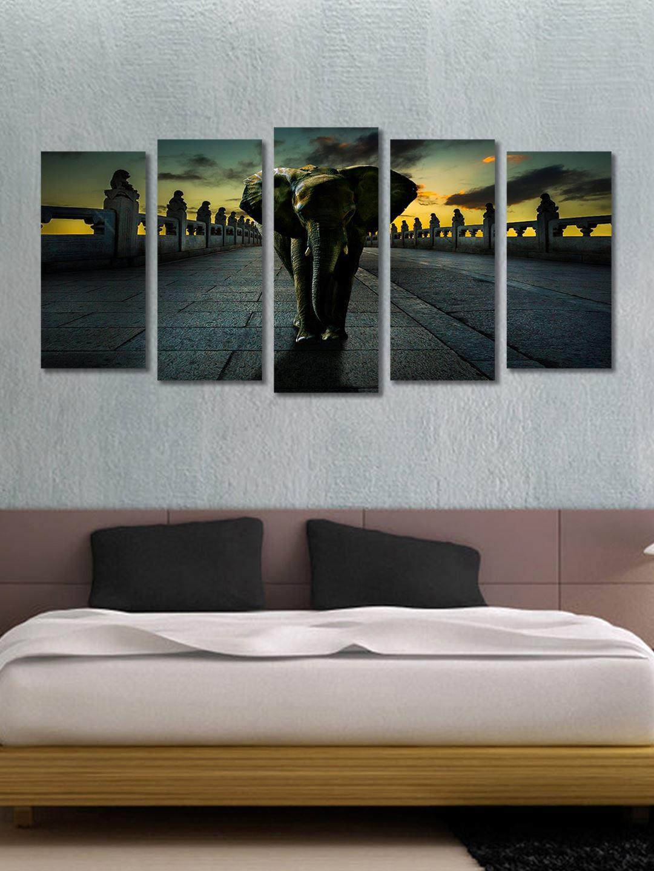 e350aa20e Buy 999Store Black & Yellow Set Of 5 Framed Wall Paintings - Wall ...