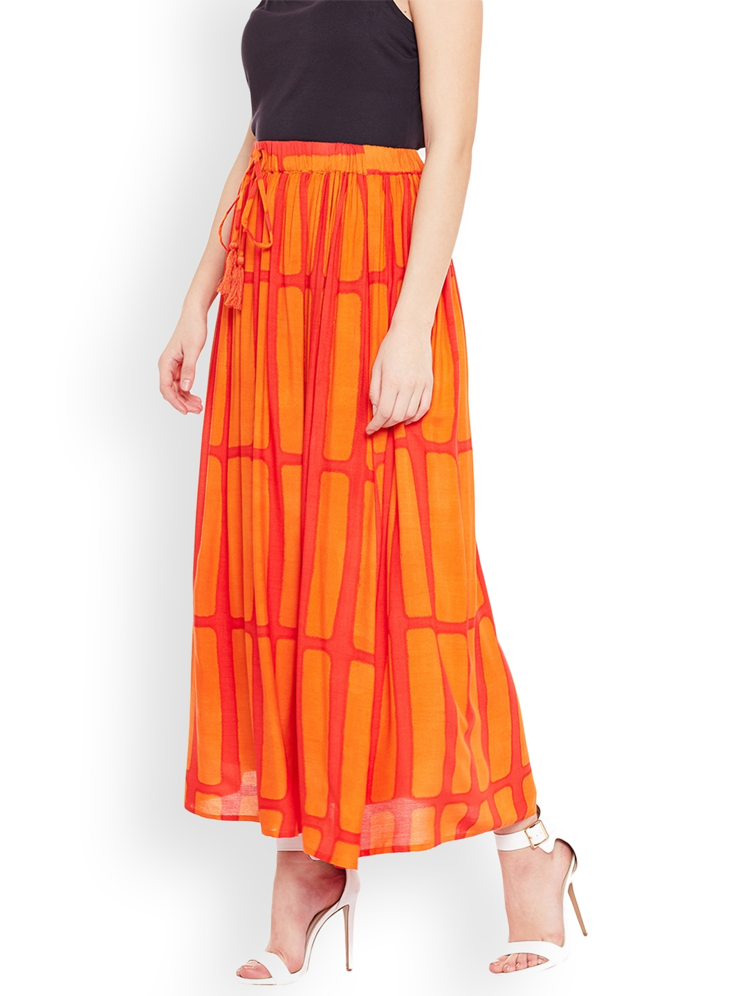 bb46980ba0 Buy Oxolloxo Women Orange Fusion Striped Belted Maxi Skirt - Skirts ...