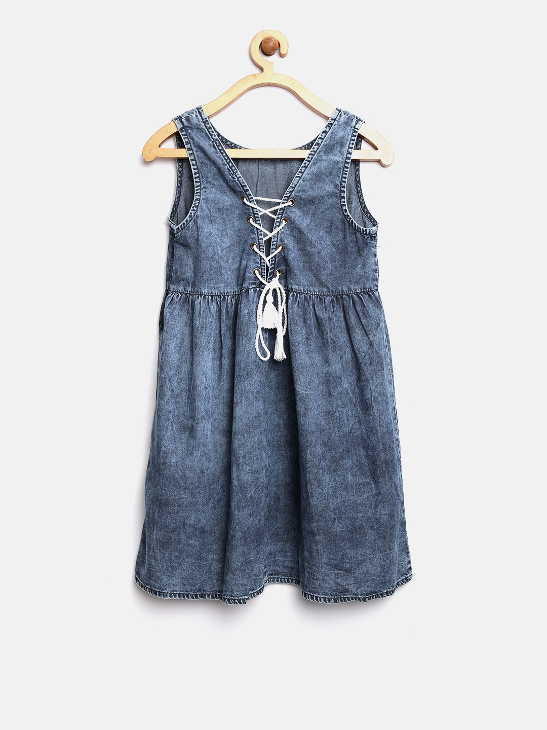 be1a4568d7 Buy Pepe Jeans Girls Blue Solid Denim A Line Dress - Dresses for ...