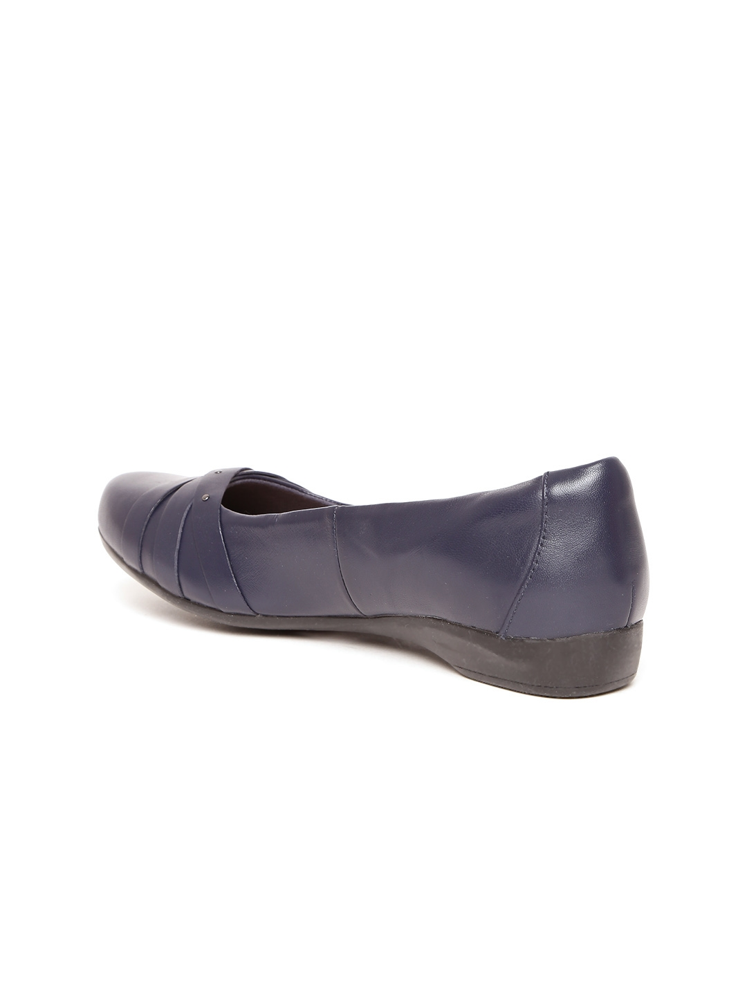 be9fe647e Buy Clarks Women Navy Blue Solid Leather Ballerinas - Flats for ...