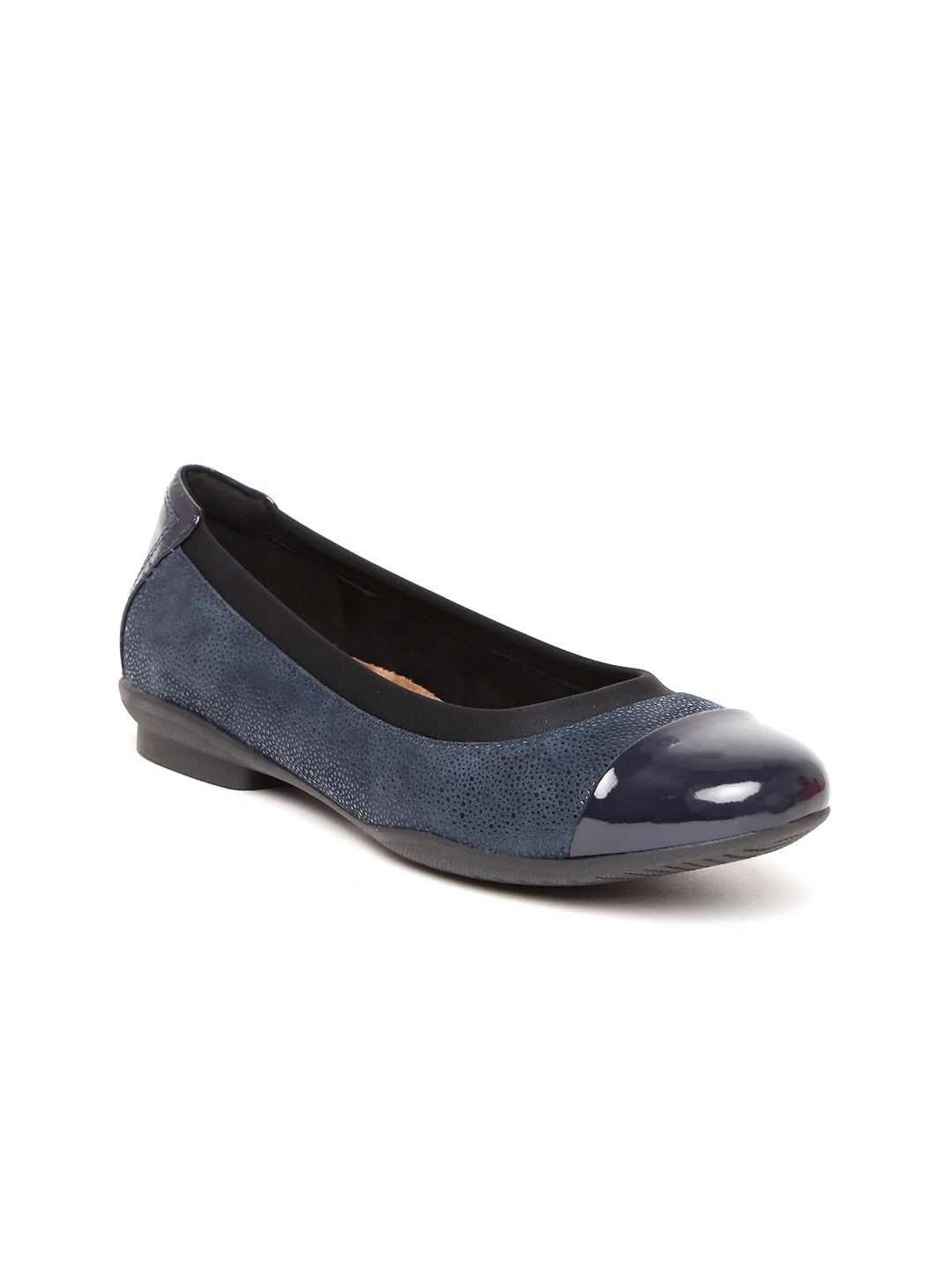d9df76bba Buy Clarks Women Navy Solid Leather Ballerinas - Flats for Women ...