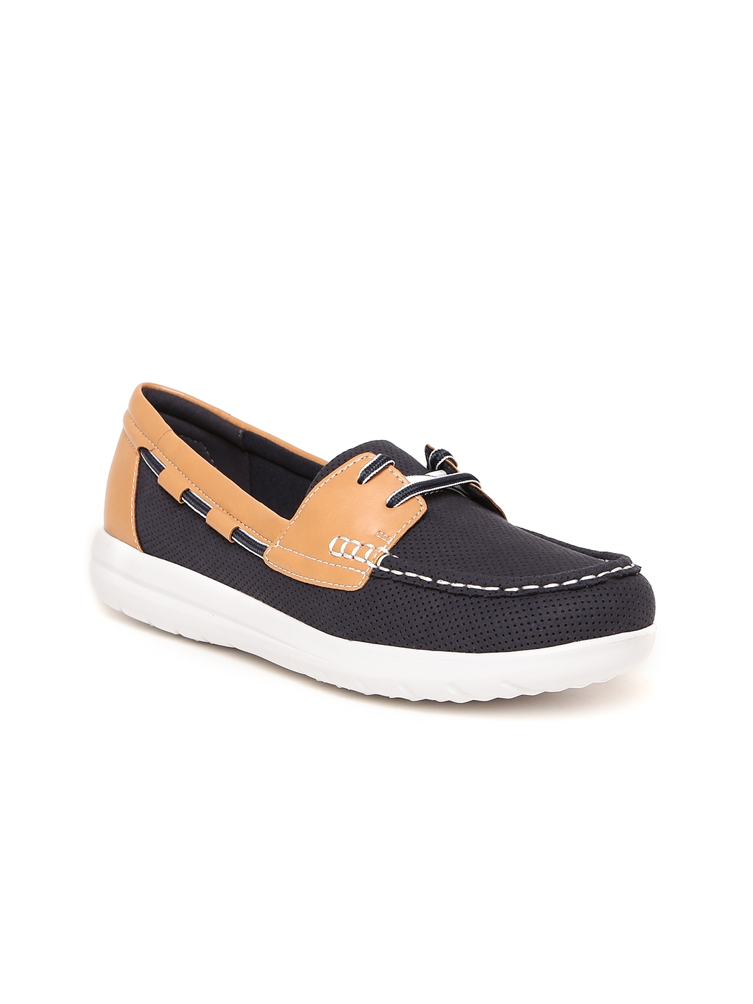 930bb2306 Buy Clarks Women Navy Blue   Brown Colourblocked Perforated Boat ...