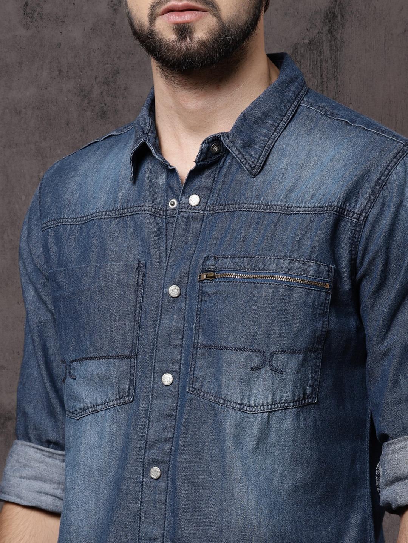 2d349d35e4 Buy Roadster Men Blue Regular Fit Faded Casual Denim Utility Shirt ...