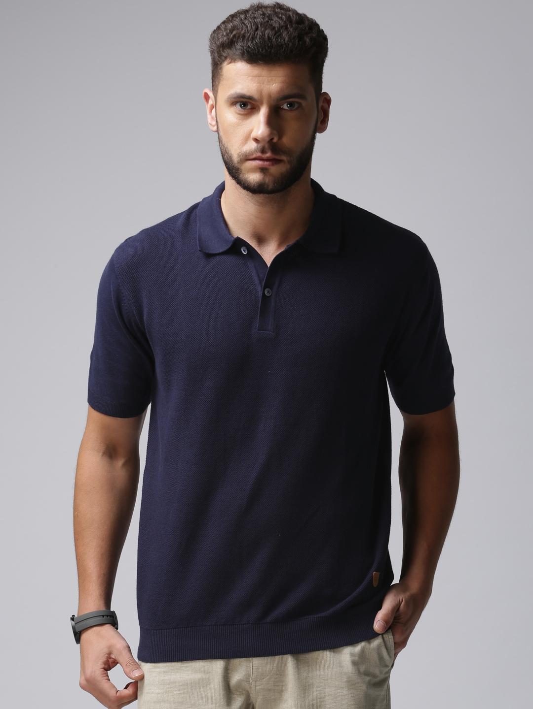 e0994c3f Buy True Blue Men Navy Blue Self Design Polo T Shirt - Tshirts for ...