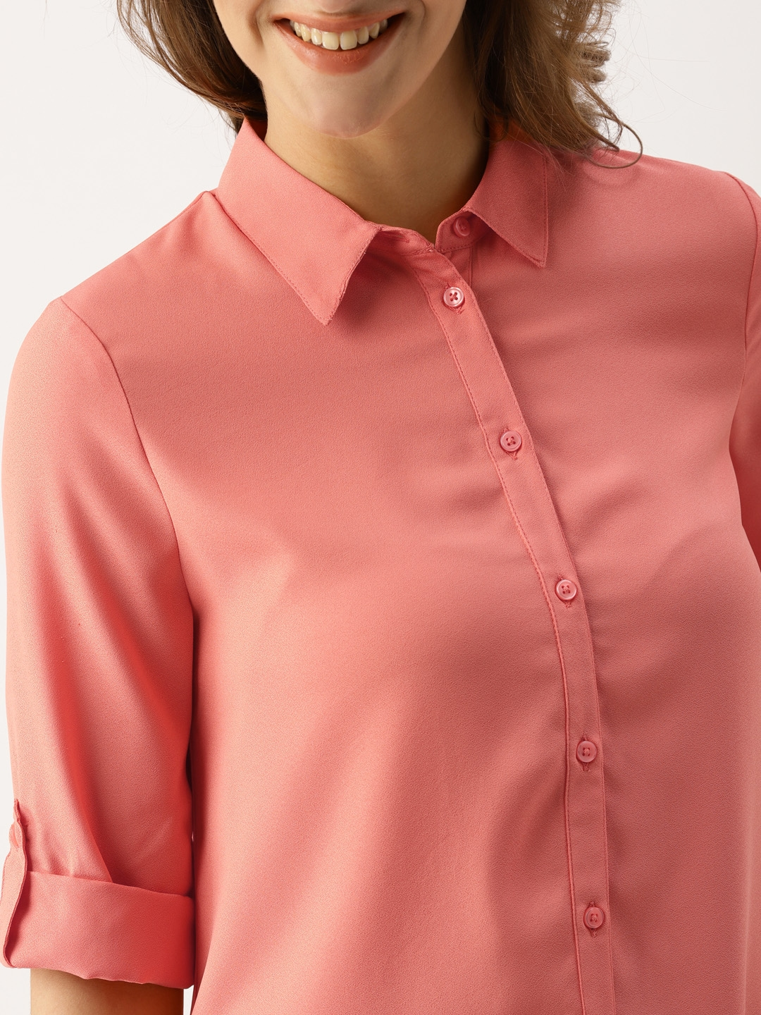 Buy Dressberry Women Coral Pink Solid Shirt Dress Dresses For