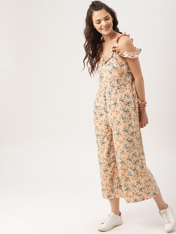 9da3f60d01 Buy DressBerry Peach Printed Basic Jumpsuit - Jumpsuit for Women ...