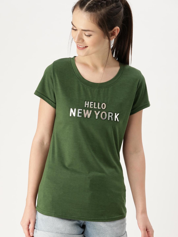 Buy Dressberry Women Olive Green Self Design T Shirt Tshirts For