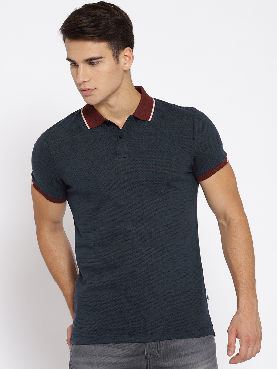 c6929f0e8 Buy Jack & Jones Men Navy Blue Self Striped Polo Collar T Shirt ...