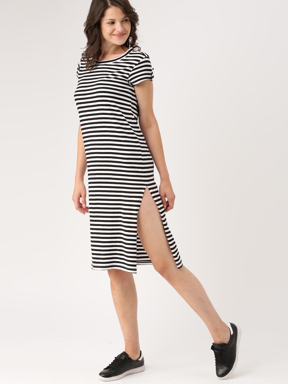 2241efeffdf2 Buy DressBerry Women Black   White Striped T Shirt Dress - Dresses ...