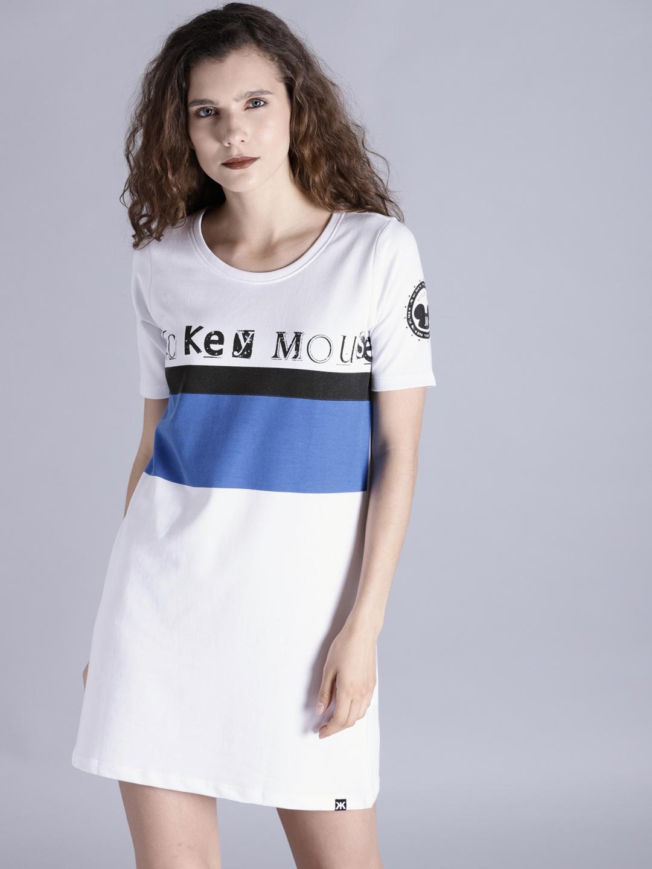 f12951e543 Buy Kook N Keech Disney Women White   Blue Printed T Shirt Dress ...