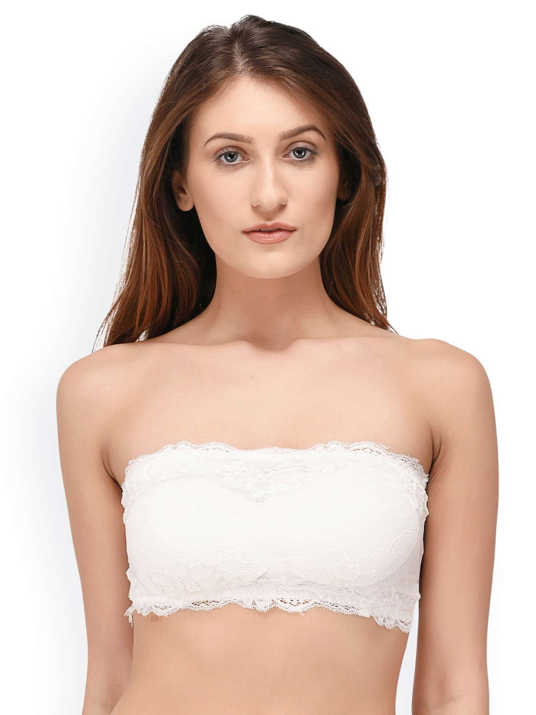 53ab6c70ba47f Buy PrettyCat White Lace Non Wired Lightly Padded Bandeau Bra - Bra ...