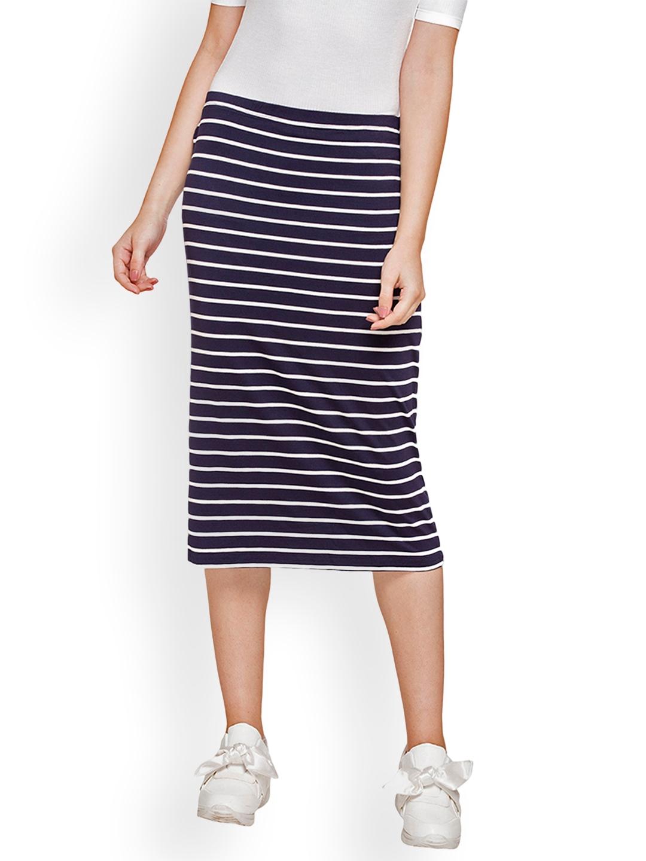 c37dc77ce2 Buy Globus Women Navy Blue Striped Midi Skirt - Skirts for Women ...