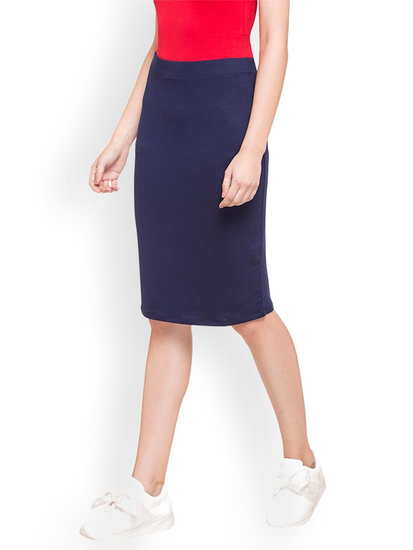 8d8e5c68b7 Buy Globus Women Navy Blue Knee Length Skirt - Skirts for Women ...