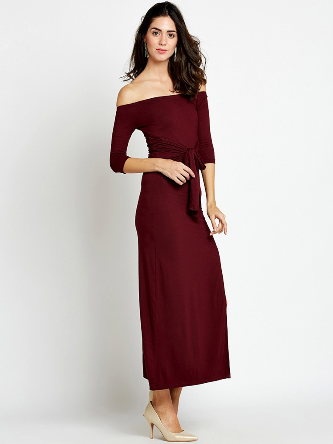4884819013e0 Buy StalkBuyLove Women Maroon Solid Bodycon Off Shoulder Dress ...