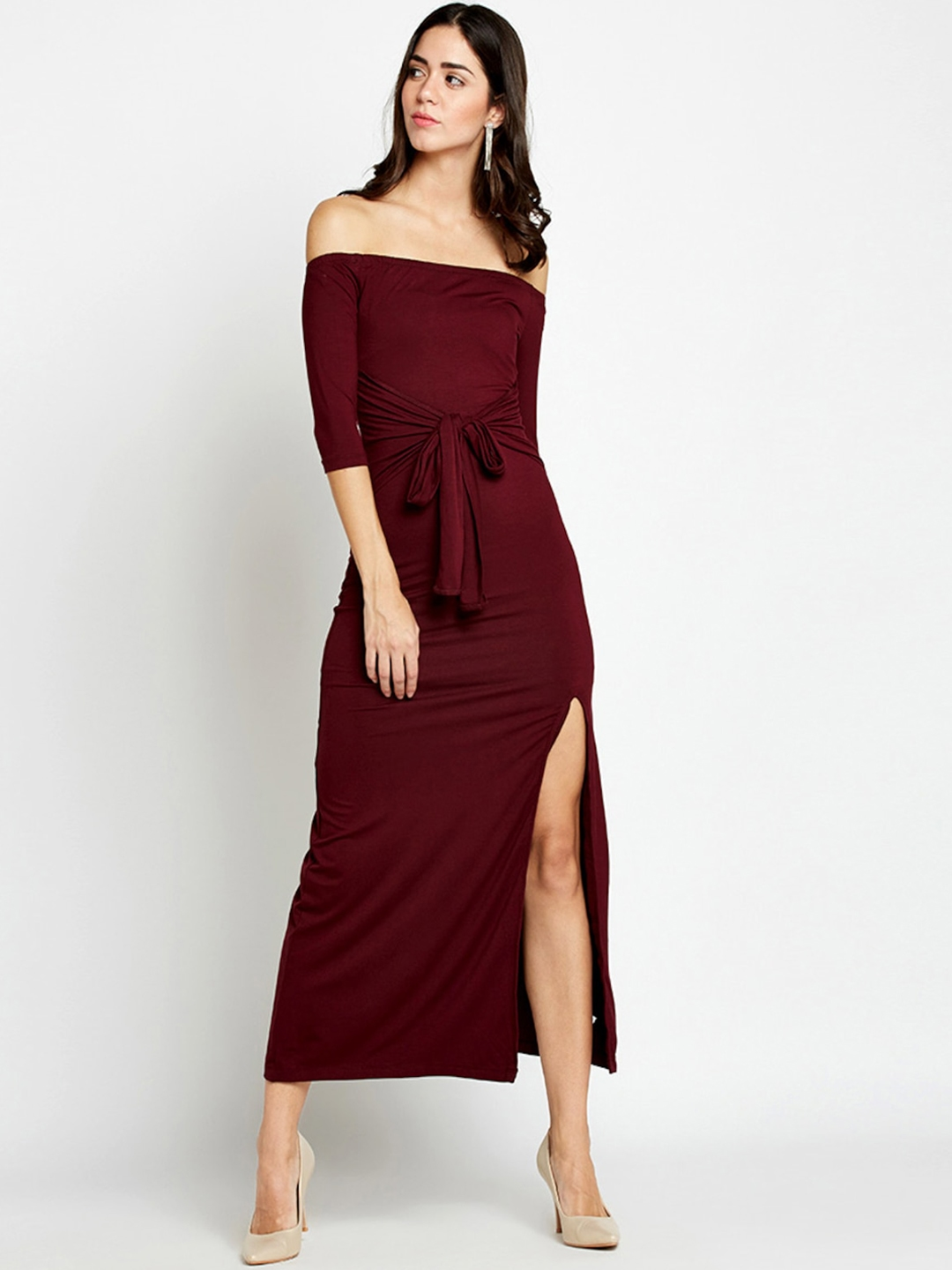 81d3eae5a73a Buy StalkBuyLove Women Maroon Solid Bodycon Off Shoulder Dress ...