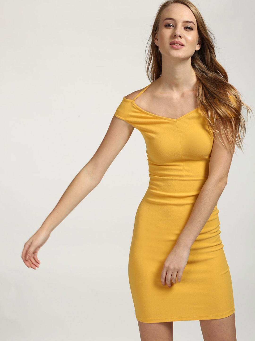 a9ecfe52ac Buy StalkBuyLove Women Yellow Solid Bodycon Dress - Dresses for ...