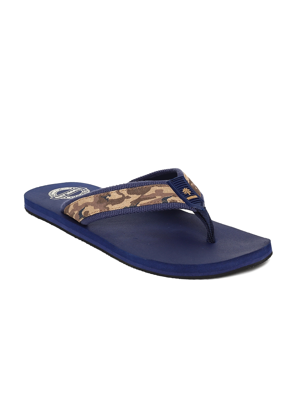 df46dbbd4f5c Buy Woodland Men Brown   Navy Blue Printed Thong Flip Flops - Flip ...