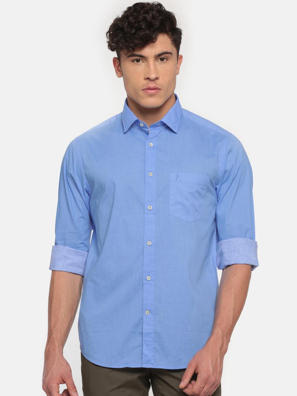 5a3be93b165 Buy Indian Terrain Men Blue Regular Fit Solid Casual Shirt - Shirts ...