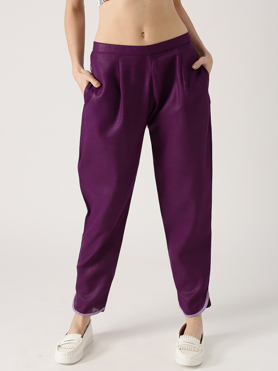 Libas Women Purple Relaxed Fit Solid Trousers