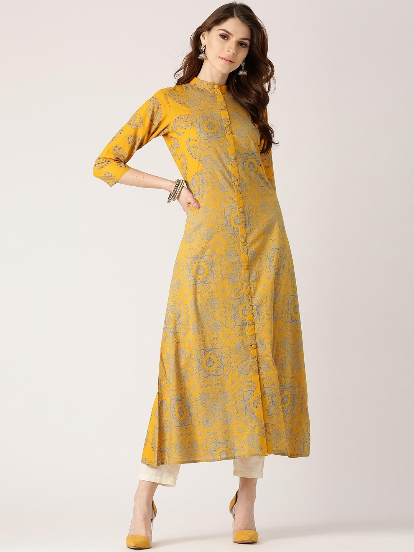 376c196cb Buy Libas Women Mustard Yellow   Blue Printed A Line Kurta - Kurtas for  Women 2528325