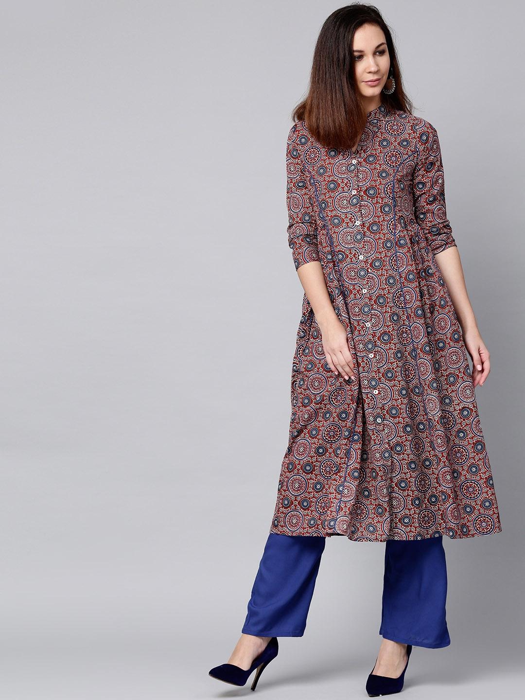 c82a48ae28 Buy Jaipur Kurti Women Maroon & Blue Printed Kurta With Palazzos ...