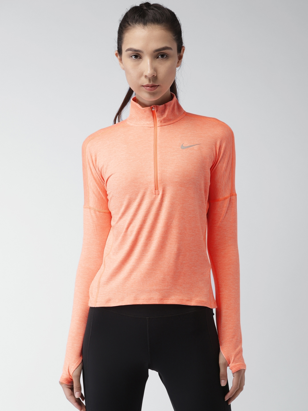 48d5ebd291 Buy Nike Women Orange Dry Element Solid Running T Shirt - Tshirts ...