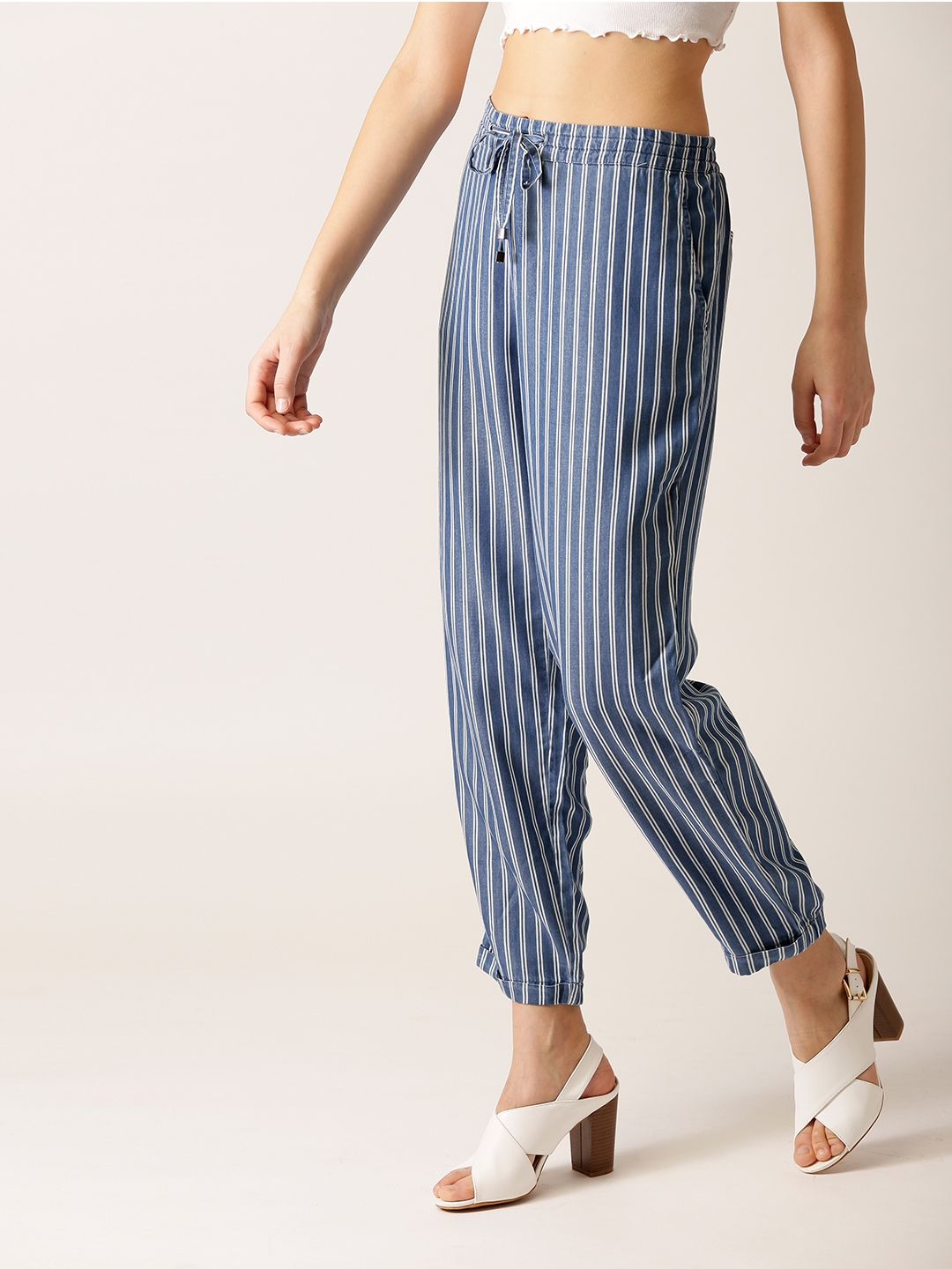 da3a2d0a288 Buy ESPRIT Women Blue   White Regular Fit Striped Cropped Trousers ...