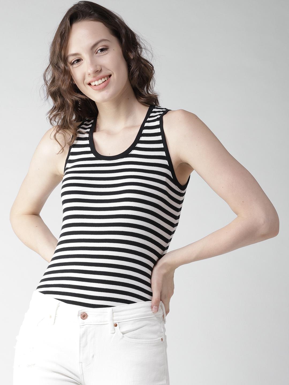 fa9727ce732ca Buy Levis Women Black   White Striped Tank Top - Tops for Women ...