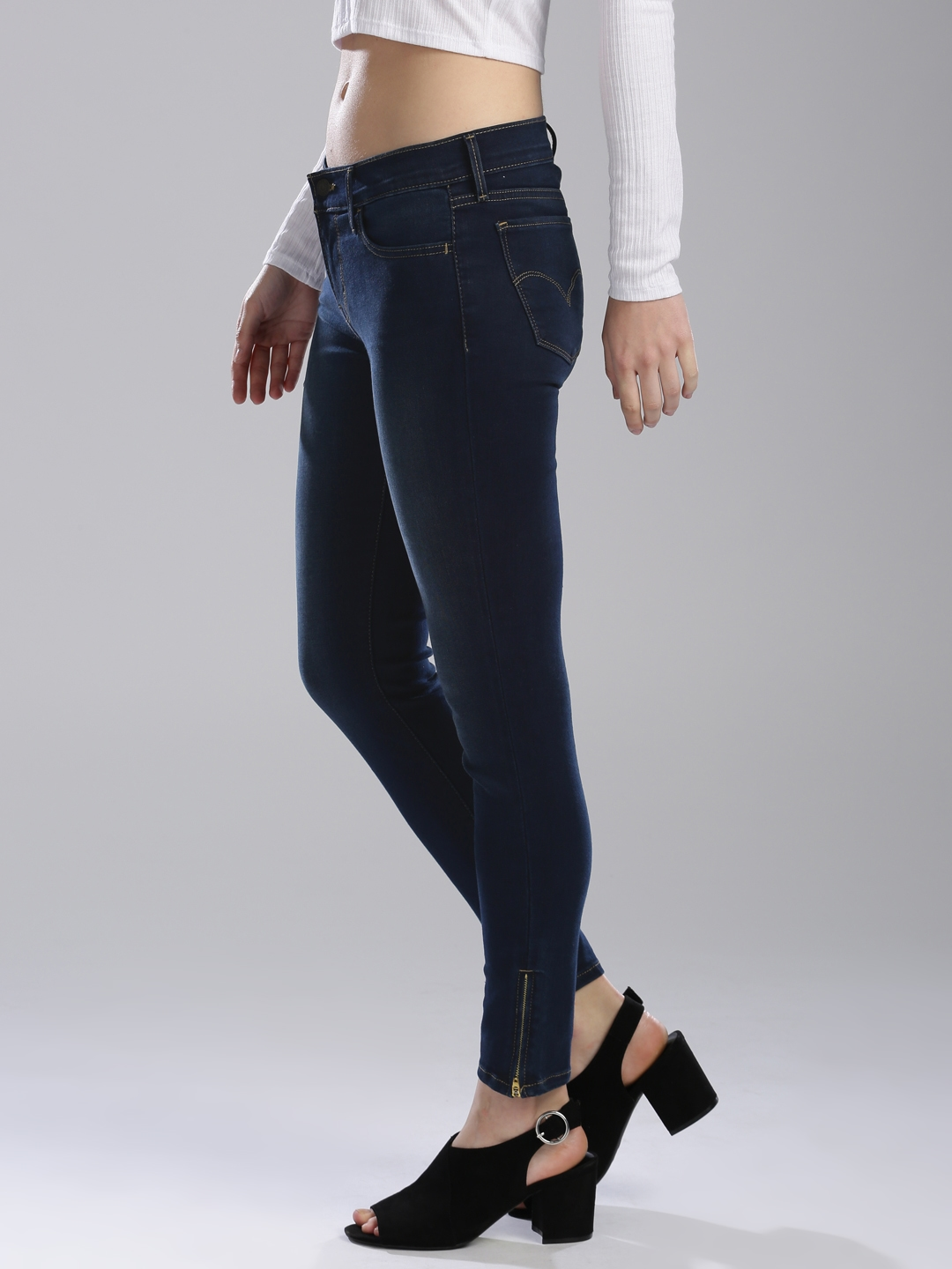 d7f08f3e63ba22 Levis Women Blue 710 Super Skinny Fit Mid-Rise Clean Look Stretchable Jeans