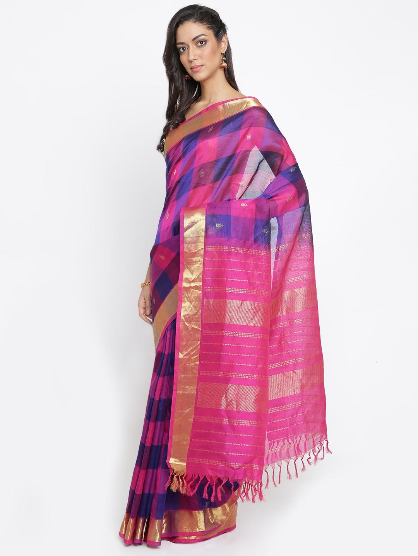 3a5879ed918686 The Chennai Silks Classicate Navy Blue & Magenta Silk Cotton Checked Saree
