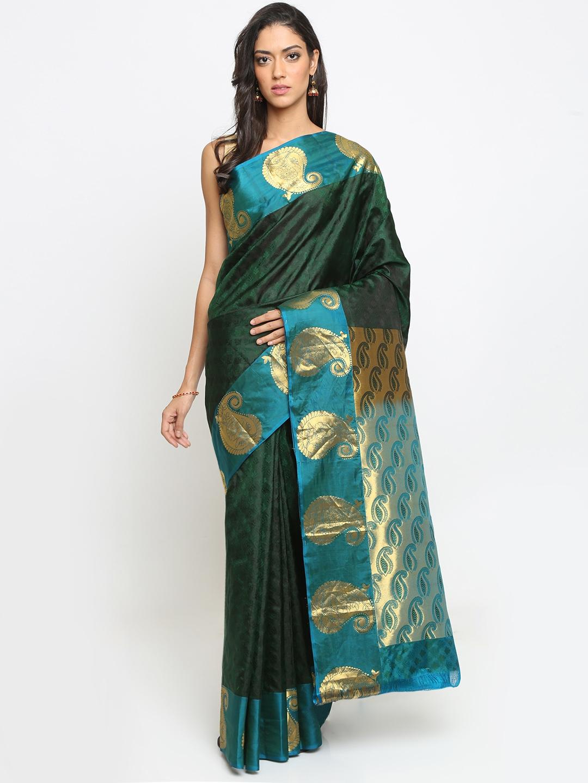 The Chennai Silks Green Pure Silk Woven Design Kanjeevaram Saree
