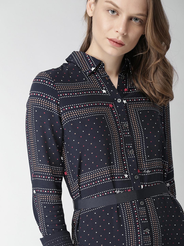 eed897dc7d1 Buy Tommy Hilfiger Women Navy Blue Printed Shirt Dress - Dresses for ...
