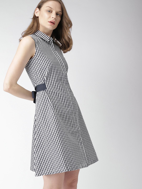 8308baa0e94 Buy Tommy Hilfiger Women Navy Blue   White Striped Shirt Dress ...