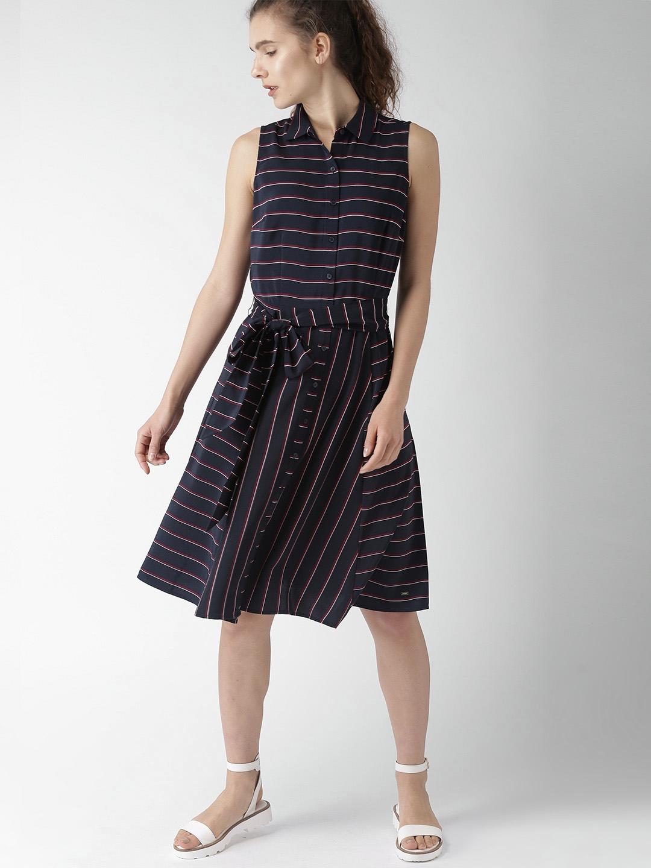 d5aa27edb40b Buy Tommy Hilfiger Women Navy Blue   Maroon Striped Shirt Dress ...