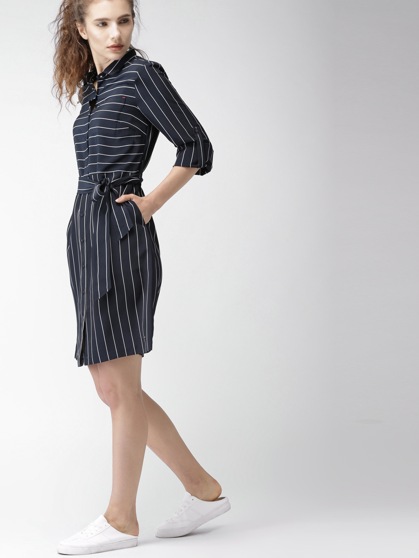 5b10e24d70 Buy Tommy Hilfiger Women Navy Striped Shirt Dress - Dresses for ...