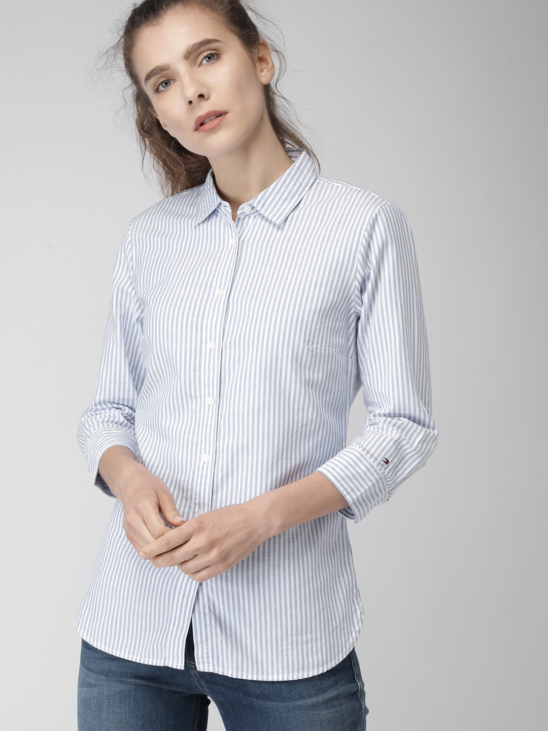 1dc78451 Buy Tommy Hilfiger Women Blue & White Slim Fit Striped Casual Shirt ...