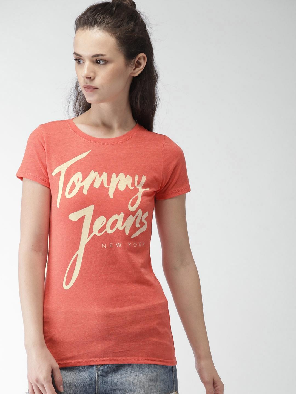 f008f6b3 Buy Tommy Hilfiger Women Coral Printed Round Neck T Shirt - Tshirts ...