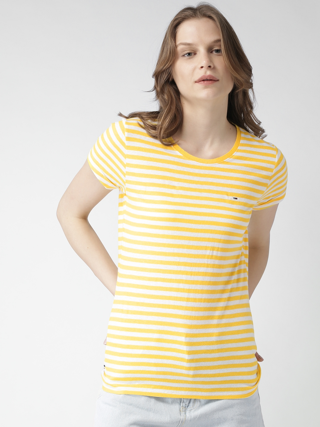 90169fe4 Buy Tommy Hilfiger Women Yellow & White Striped Round Neck T Shirt ...