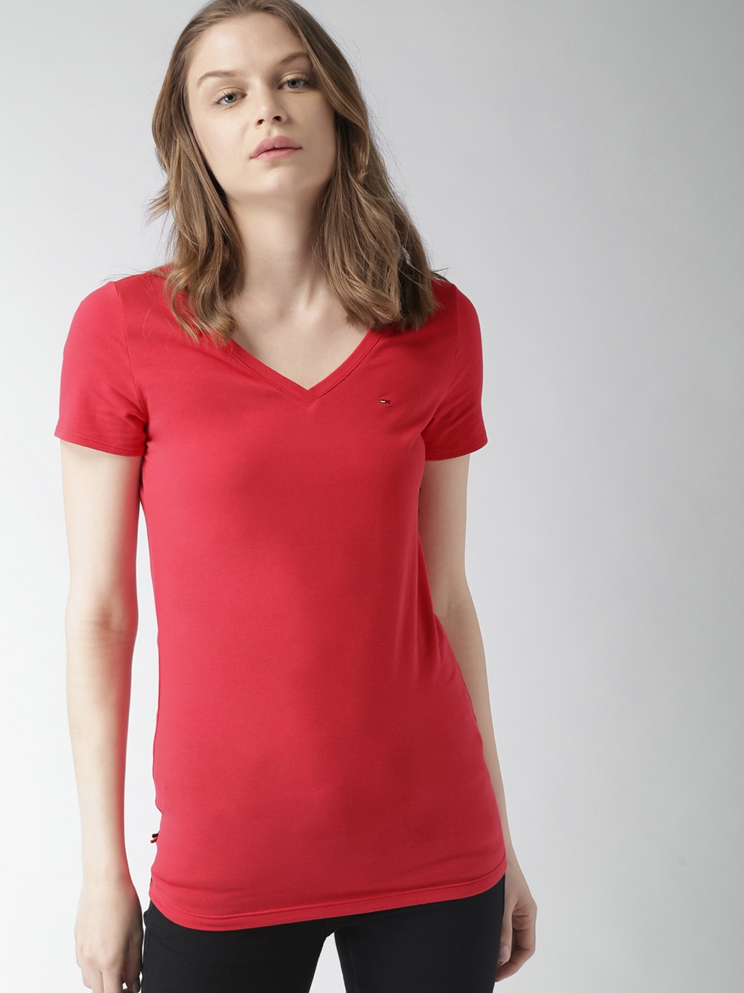 bc0de1a07cf2 Buy Tommy Hilfiger Women Red Solid V Neck T Shirt - Tshirts for ...
