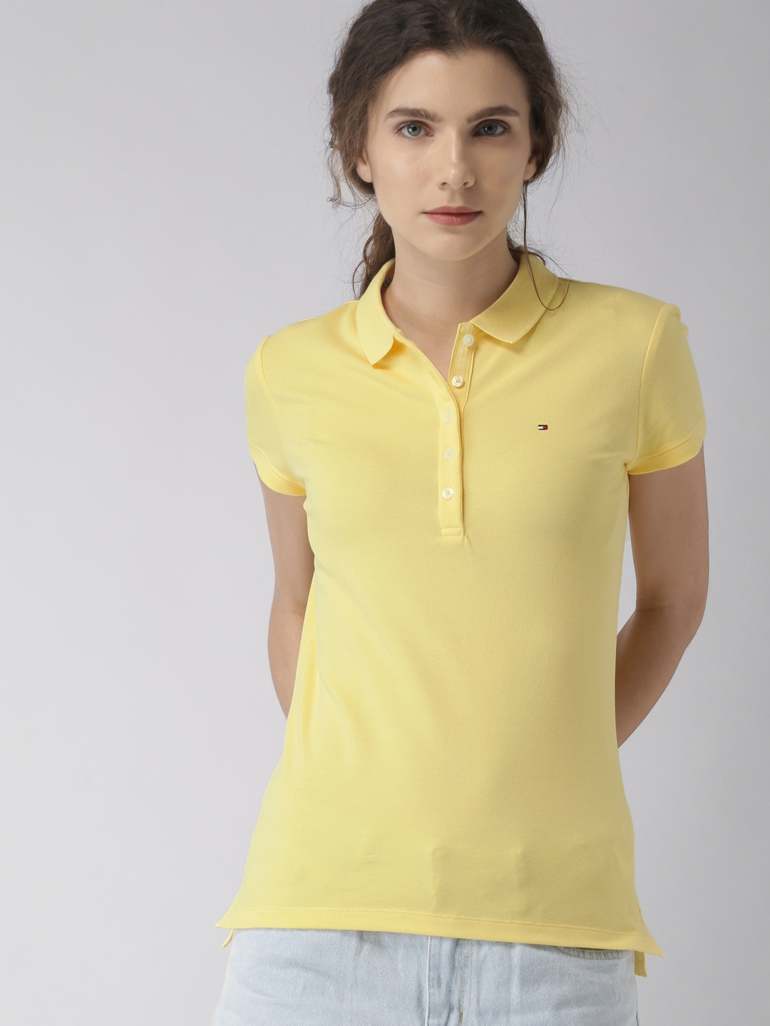 9e50054b7bb3c5 Buy Tommy Hilfiger Women Yellow Solid Polo Collar T Shirt - Tshirts ...