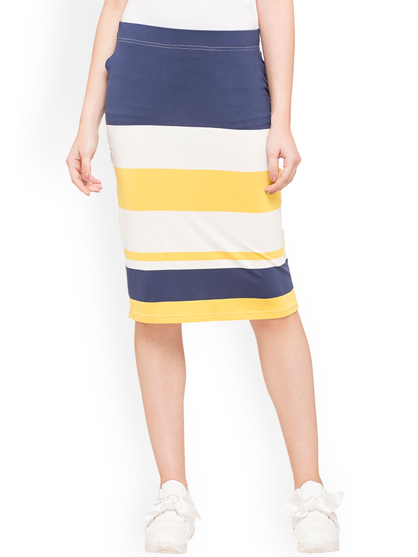 c6907747be Buy Globus Navy Blue, Yellow And White Straight Knee Length Skirt ...