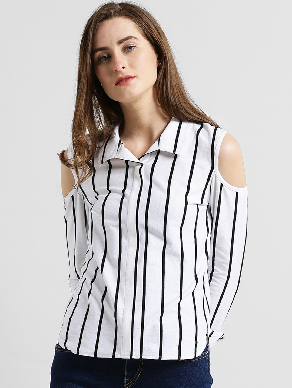 009e5908e7a43 Buy Texco Women White   Black Regular Fit Striped Casual Shirt ...