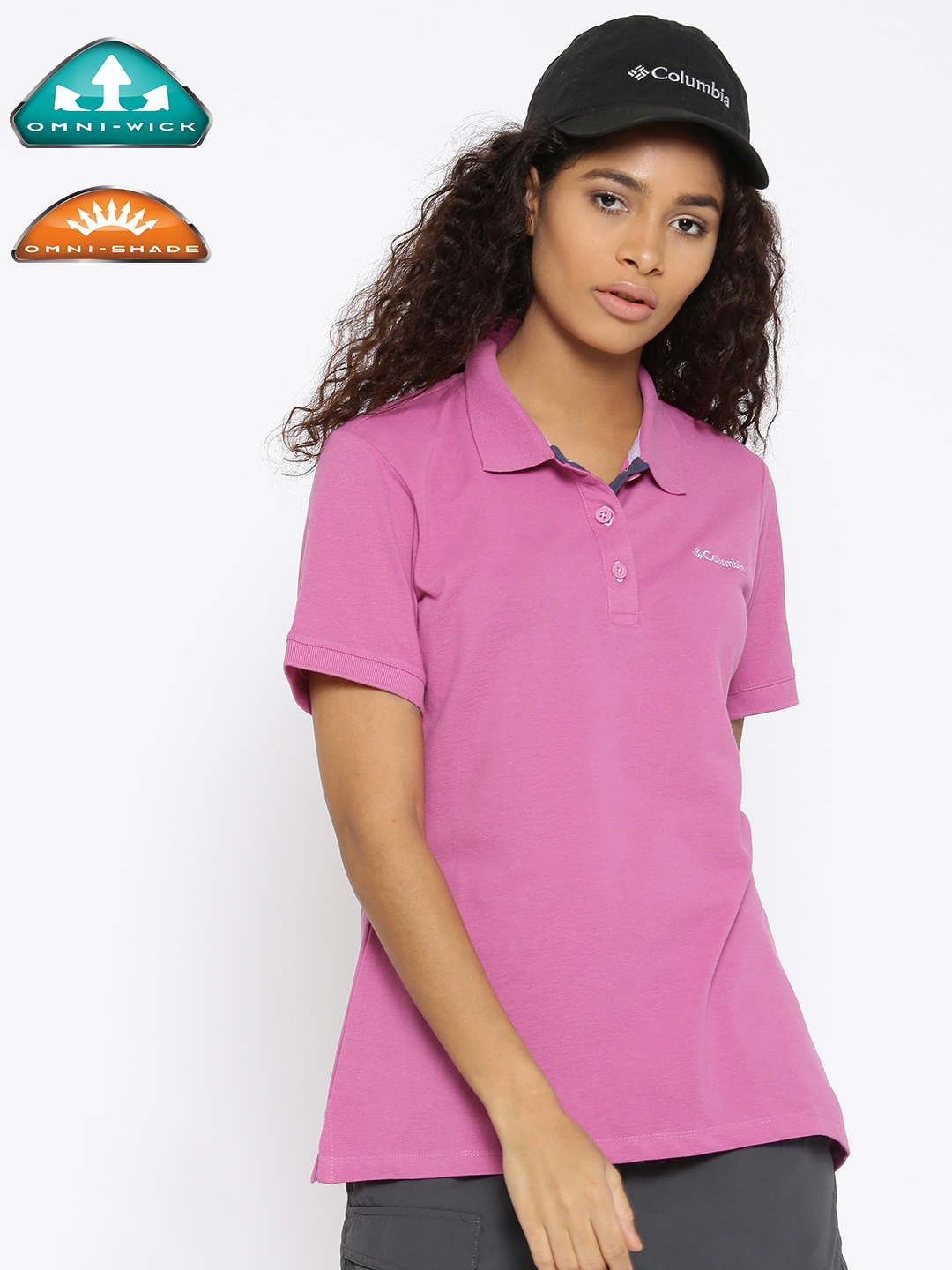 5afd9e8642c Columbia Women Pink Solid Cascade Range UV Protect Outdoor Polo T-shirt