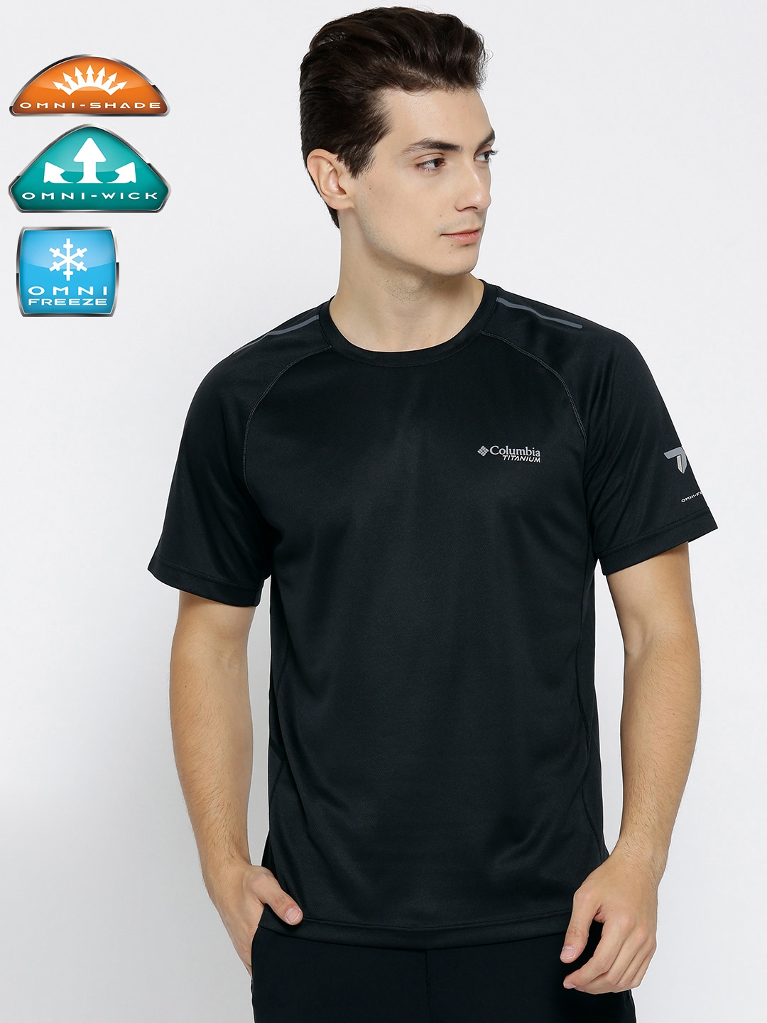5b53bb21 Columbia Men Black Solid Quick Drying Breathable Outdoor & Gym Round Neck T- shirt